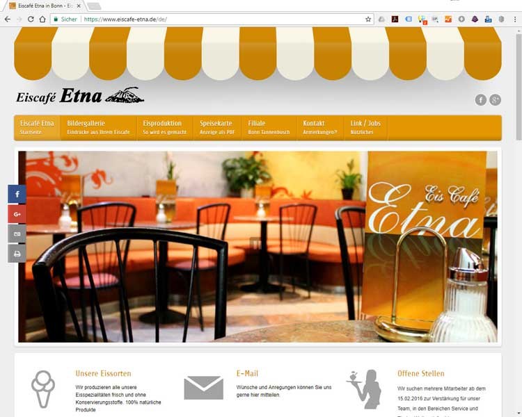 Website des Eiscafes Etna