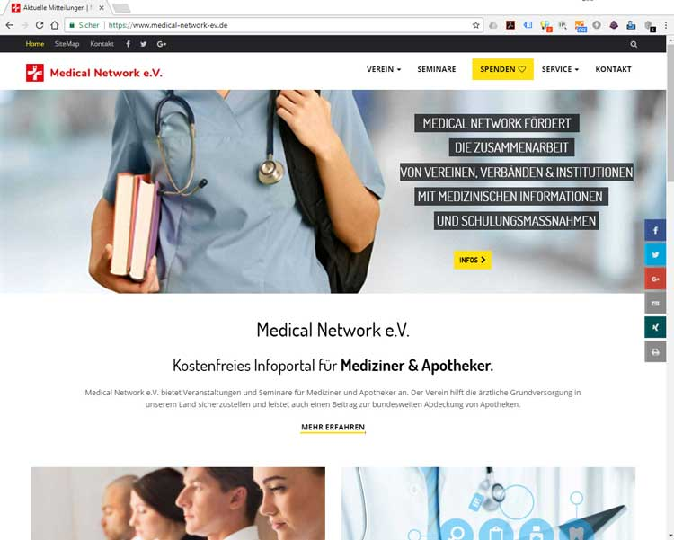 Website des Vereines Medical Network e.V.